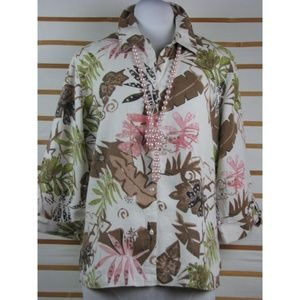 Ladies linen tropical tab sleeve buttoned top EUC